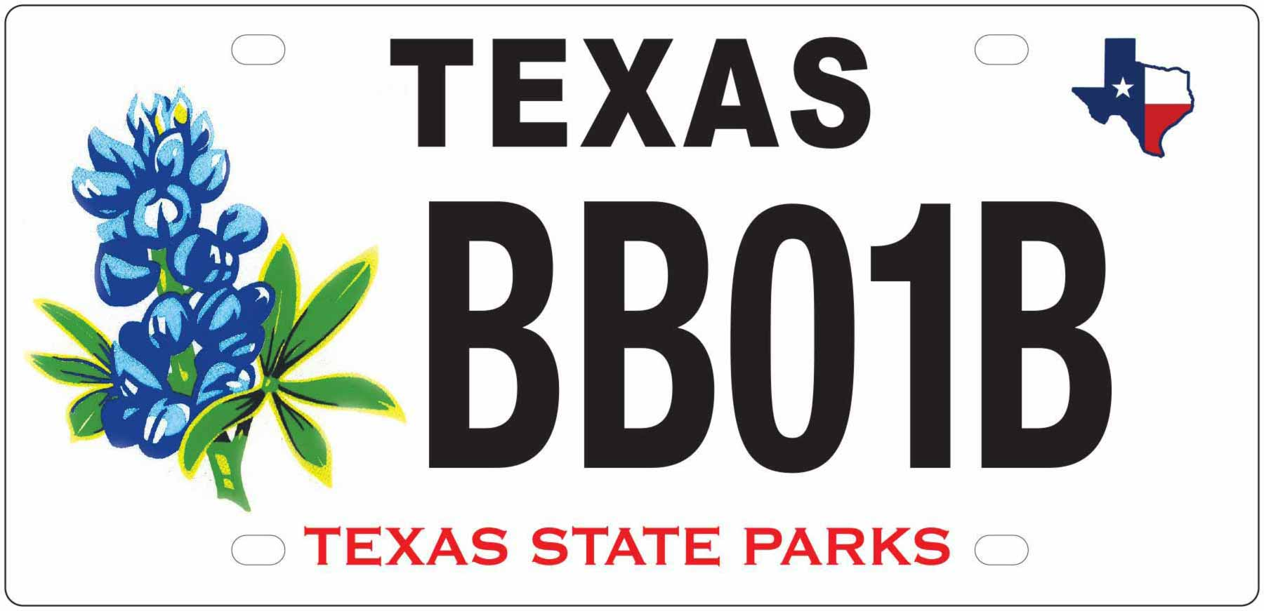 Texas State Park Bluebonnet License Plate