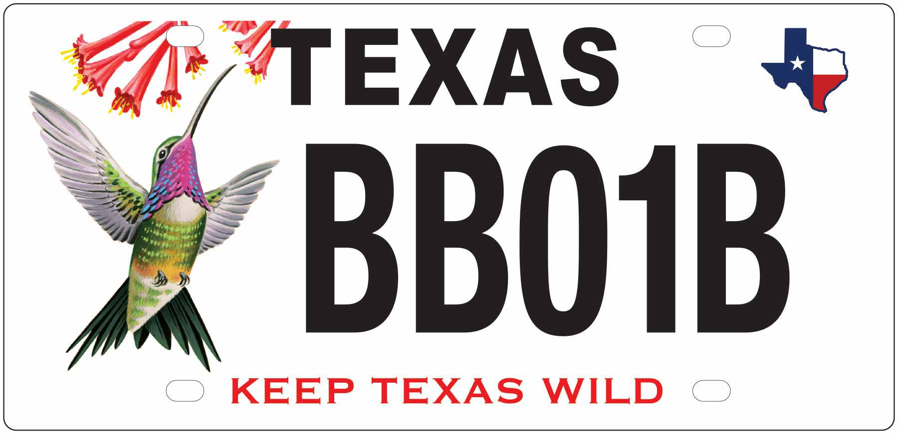 Texas State Park Hummingbird License Plate