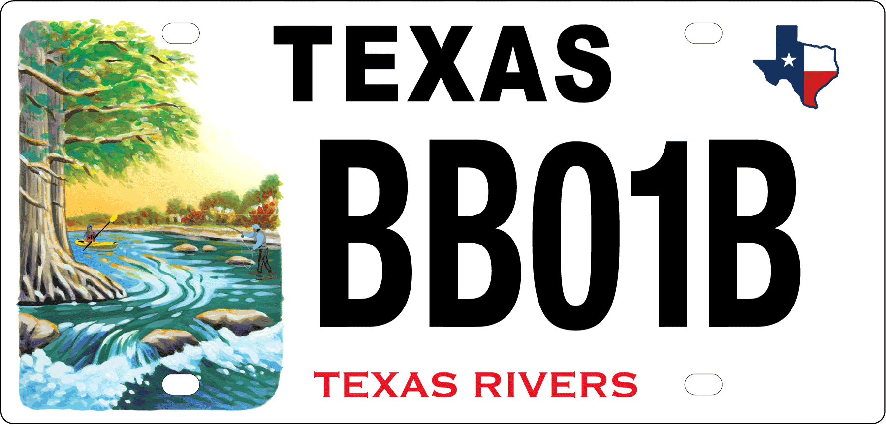 Texas Rivers License Plate