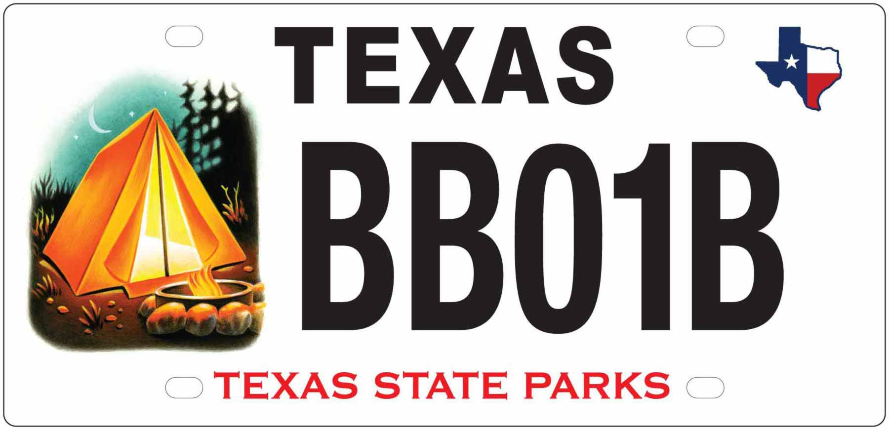 Texas State Park Camping License Plate